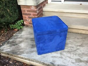 Ottoman Modern Blue Cube Footstool Storage  CUTE!