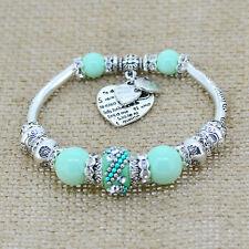 Silver Heart Charm Glass Beads Strand Bracelets Womens Europe Jewelry Bangles