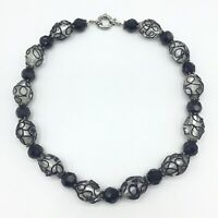 """Lampwork Glass Clear Black Faceted Bead Single Strand Necklace Swirl 18"""" Long"""