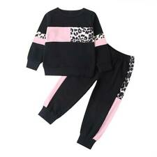 Kinder Mädchen Langarm Leoparden Trainingsanzug Sportanzug Jogginganzug Outfits