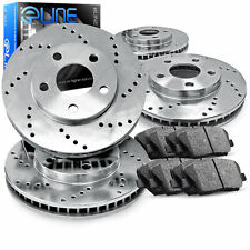For BMW 550i xDrive, 650i xDrive Front Rear  Drilled Brake Rotors+Ceramic Pads