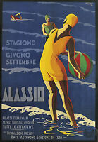 Alassio Italy   Vintage painting Travel Poster Print For Glass Frame 90cm art