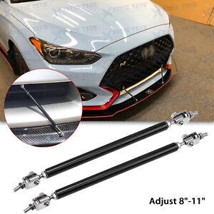 Black Adjustable Bumper Lip Splitter Strut Rod Tie Support Bars For Hyundai Kia