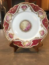 Antique Noritake/Nippon RC Hand Painted Beaded Gold and Red Flowers Pink Scrolls