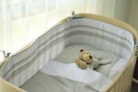 Kidz Kiss Petit Dots Grey Reversible Cot Bumper / Cradle Bumper 225 x 30cm
