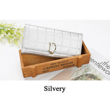 Woman Rhombus Cowhide Leather Wallet Clutch Pure Printing Emboss Zipper Soft