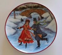 "Christmas Collector Plate Ice Skating 8"" Collectible Vintage"