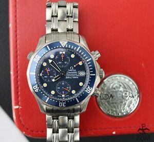 Omega Seamaster Pro Chrono Automatic Diver 300M Blue Steel Men's Watch w/Box