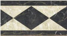 Wallpaper Border Faux Marble Diamonds Black Cream Gold Accents