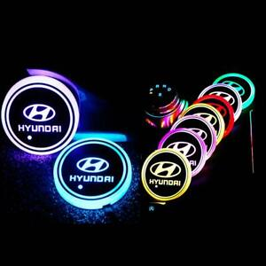 2PCS LED Car Logo Cup Holder Pad 7 Colors Changing Atmosphere Light for HYUNDAI