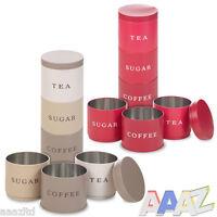 3 Stackable Coffee Tea Sugar Set Metal Food Storage Tins Kitchen Canisters Jars