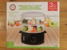 Chef's Counter Double Tiered Food Steamer - Black - New in Box