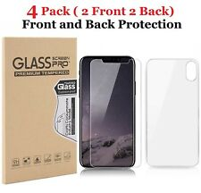 [4-Pack] Front & Back Tempered Glass Screen Protector For iPhone 11 XR XS MAX