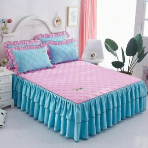 Fashion Velvet Bed Skirt Thickened Lace Bed Clip PureColor Bedspread with Skirt