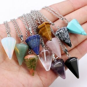 Gemstone Crystal Pendulum Healing Dowsing Reiki Chakra Pendant Necklace Quartz