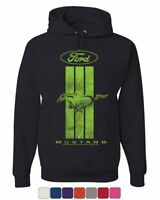 Ford Mustang Green Stripe Hoodie Classic American Muscle Car