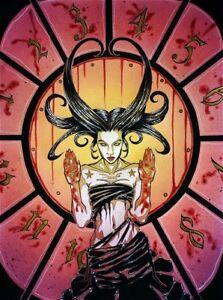 Gothic female with fortune wheel comic fantasy art CANVAS PRINT