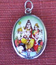 Hindu Deity Pendant Metal and Enamel SHIVA FAMILY w/ Green Background