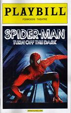 OPENING NIGHT SPIDERMAN TURN OFF THE DARK PLAYBILL  Spider-man Reeve Carney