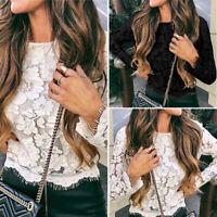 VONDA UK 8-24 Women Lace Floral Casual Shirt Hollow Long Sleeve Blouse Top Plus
