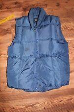 vintage down vest, womens 6-8, S, down filled blue Lands End
