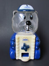 "Vintage Carousel Bear Gumball Machine Blue & White 9.5"" Tall"