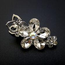 """Mini 1.5"""" Silver Rhinestone Crystal Flower Wedding Updo Hair Claw Jaw Pin Clip"""