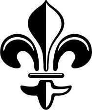 "Fleur De Lis Vinyl Decal Sticker Truck Window- 6"" Tall White Color"