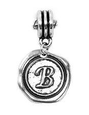 Letter B Alphabet Initial Wax Stamp Dangle Charm for European Bead Bracelets