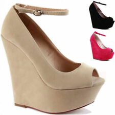 Wedge Suede Patternless Strappy, Ankle Straps Heels for Women