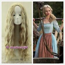 Cinderella Long wavy Curly Blonde Anime Cosplay Wig Fashion Wig No Bangs