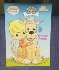 """PRECIOUS MOMENTS Coloring Book Vintage 2003 """"Furr-ever-Friends'' with Postcards!"""