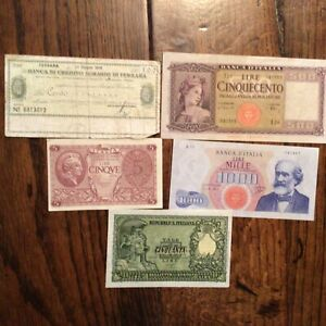5 ltaly banknotes, good mix, good to uncirculated.