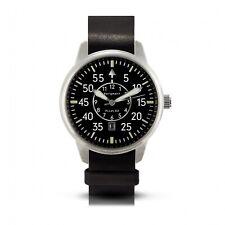 Bergmann-Uhr Pilot 02 schwarzes Lederarmband