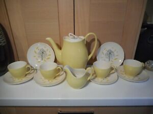 RARE VINTAGE JOHNSON BROTHERS YELLOW WHISPERING WEEPING WILLOW COFFEE SET 1960'S