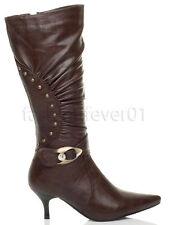 Unbranded Women's Mid-Calf Kitten Zip Boots
