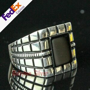 Onyx Stone 925 Sterling Silver Turkish Handmade Luxury Mens Square Ring All Size