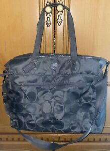COACH Large Gray Signature Nylon Handbag Diaper Bag Tote Carryall Bag F77577