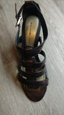 Genuine Chocolate Brown Leather Strappy Wedge Faux Gator by Bandolino