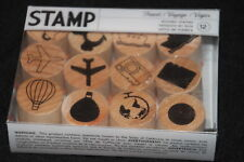 Set 12 travel wood mounted rubber stamps 1 inch outline camera plane car ship