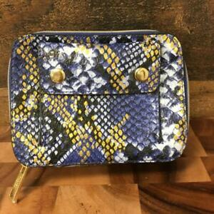 NEW Estee Lauder Faux Leather Snake Skin Small Make Up Cosmetic Case Purple Gold