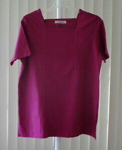 Top Short Sleeve Square Neck Violet Silhouettes New XL