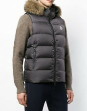 Auth Moncler Olive Green Youri Down Coyote Fur Hood Vest 3 In 1 $1400 W/receipt
