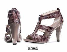 MICHAEL KORS Berkley T Strap Embossed Snakeskin Heels Sandals 9.5M