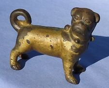 """ANTIQUE CAST IRON 3"""" PUG DOG TOY PAPER WEIGHT HUBLEY?"""