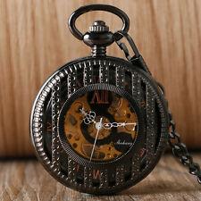 Luxury Stripe Hollow Roman Numerals Mechanical Hand Winding Pocket Watch Chain