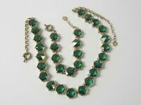 Vintage Talbots Emerald Green Stones Hexagonal Necklace & Bracelet