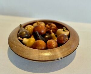 1:12 Scale Artisan Made Miniature Wooden Fruit Bowl with 14 Assorted Fruits