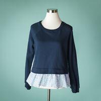 English Factory Medium Top Blue Blouse Peplum Eyelet Lace Back Knit Sweatshirt