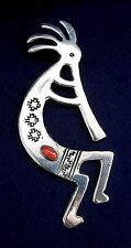 NATIVE AMERICAN STERLING Stamped Coral Cab HANDMADE Kokopelli LARGE Pin Estate
